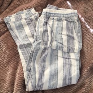 Stripped ankle length pants
